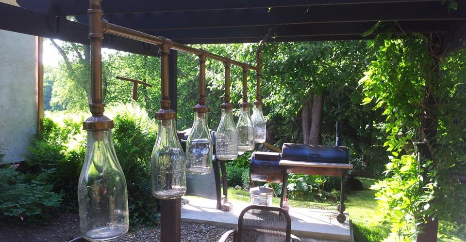 Vintage Milk Bottles for Outdoor Light