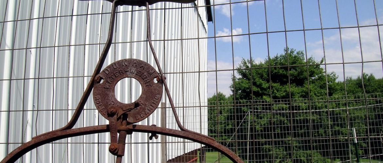 Antique Yard Roller on Farm