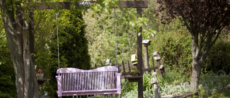 Porch Swing in Cottage Garden
