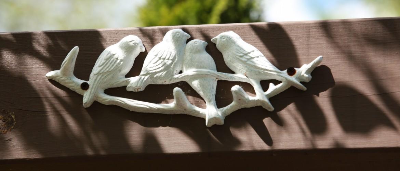 Metal Birds in Garden